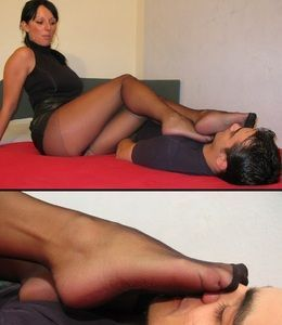 Denise forces slave to smell stinky nylons