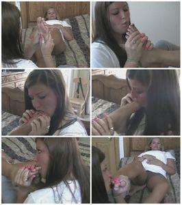 Hot girl/girl foot worship
